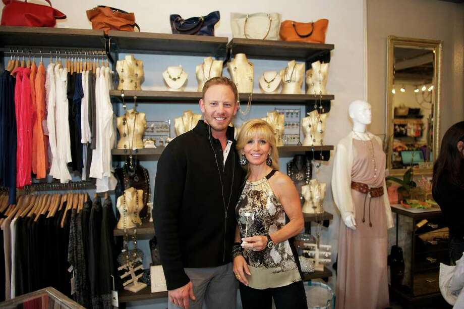 "Former ""Beverly Hills 90210"" star Ian Ziering with LV2BFIT owner Patty Palmieri during an anti-agent event at the store in Rye Brook, N.Y., Wednesday. Photo: Contributed Photo"