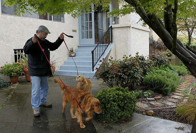 Frank Castro takes his golden retrievers, Morgan and Sasha, for a walk in his Rockridge neighborhood of Oakland, Calif. on Saturday, March 24, 2012. Castro opposes Mayor Jean Quan's 100 Block crime prevention plan, believing it is taking resources away from other areas of the city. Photo: Paul Chinn, The Chronicle