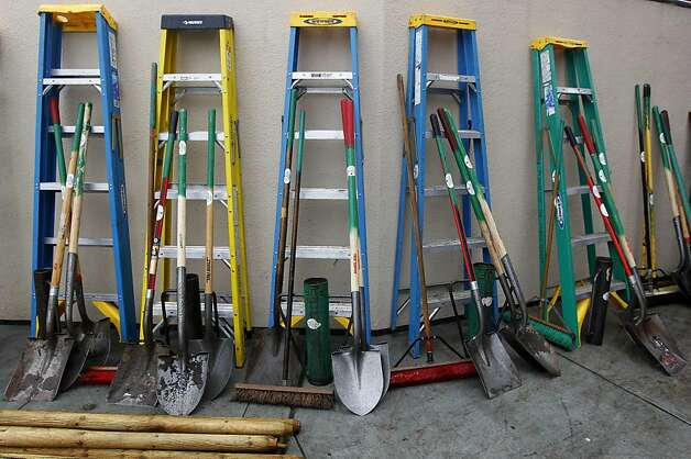 Gardening tools are organized for volunteers from Friends of the Urban Forest to use for planting trees in the Excelsior District of San Francisco, Calif. on Saturday, March 24, 2012. Photo: Paul Chinn, The Chronicle