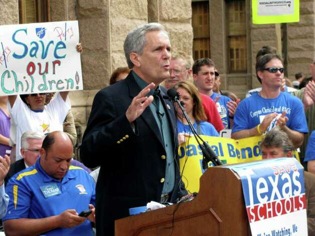 U.S. Rep. Lloyd Doggett, D-Austin, talks to hundreds of protesters gathered at the Texas Capitol for the Save Texas Schools match and rally Saturday,  March 24, 2012.    Kolten Parker / San Antonio Express-News