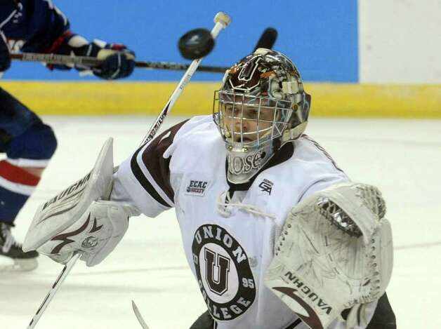 Union goalie #1 Troy Grosenick during NCAA Men's Ice Hockey Bridgeport Regional action against UMASS Lowell at the Webster Bank Arena in Bridgeport, Conn. on Saturday March 24, 2012. Photo: Christian Abraham / Connecticut Post