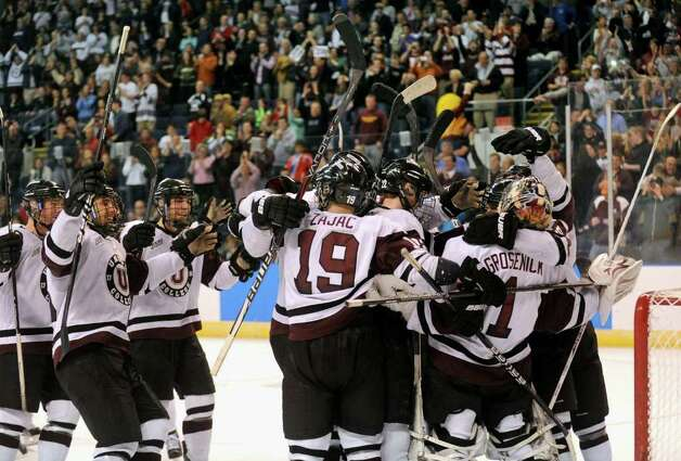 Union celebrates after beatin UMASS Lowell 4-2, in NCAA Men's Ice Hockey Bridgeport Regional action at the Webster Bank Arena in Bridgeport, Conn. on Saturday March 24, 2012. Photo: Christian Abraham / Connecticut Post