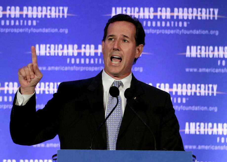 Republican presidential candidate, former Pennsylvania Sen. Rick Santorum speaks at the AFP Defending the Dream Conference in Milwaukee, Wis., Saturday, March 24, 2012. (AP Photo/Jae C. Hong) Photo: Jae C. Hong