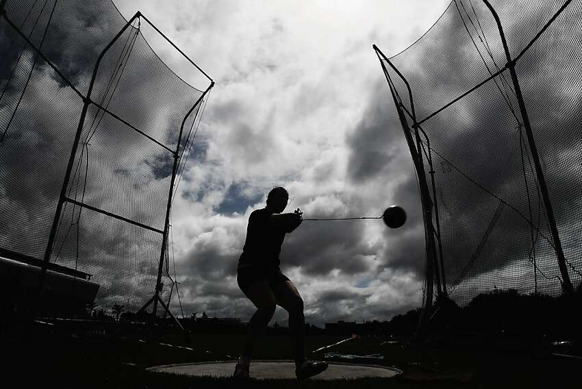AUCKLAND, NEW ZEALAND - MARCH 24: Julia Ratcliffe of Waikato BOP competes in the Women's Senior Hammer Throw final during day two of the New Zealand Track and Field Championships-Olympic Trials at Trusts Stadium on March 24, 2012 in Auckland, New Zealand. (Photo by Hannah Johnston/Getty Images) *** BESTPIX ***