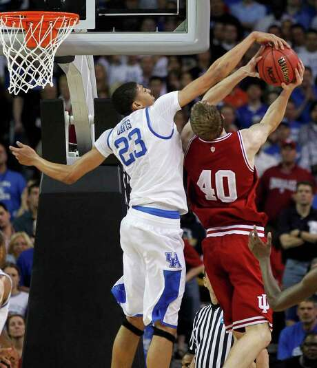 Kentucky's Anthony Davis, left, makes Indiana's Cody Zeller the latest of his nation-leading 169 blocked shot victims this season. Photo: Mark Cornelison / Lexington Herald-Leader