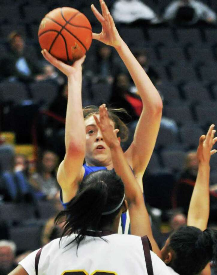 Cicero-North Syracuse center Breanna Stewart gets a shot by Nazareth defenders during Saturday's Class AA girls' semifinal at the Times Union Center in Albany March 24, 2012.    (John Carl D'Annibale / Times Union) Photo: John Carl D'Annibale / 00016931A