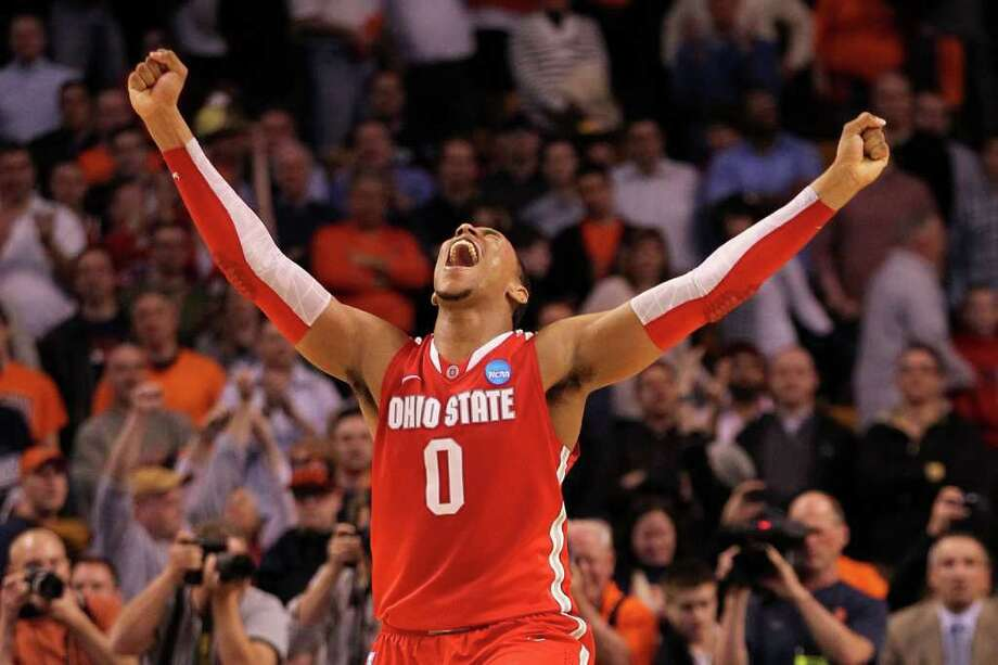 Jared Sullinger could hardly contain himself after his Ohio State Buckeyes defeated Syracuse in the East Regional final to earn a Final Four berth. Photo: Jim Rogash / 2012 Getty Images