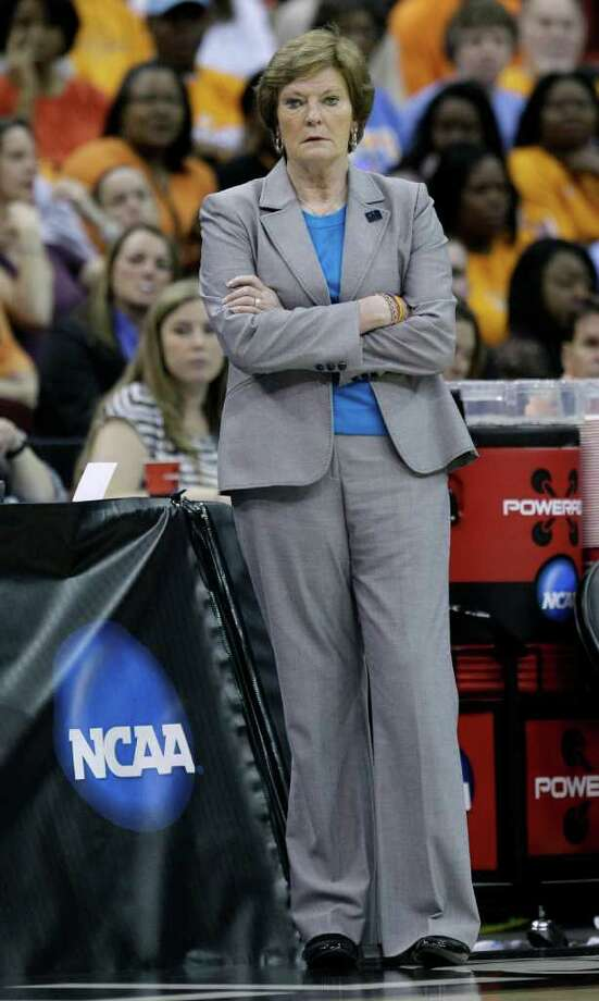 Tennessee head coach Pat Summitt looks on during the first half of an NCAA women's tournament regional semifinal college basketball game against Kansas, Saturday, March 24, 2012, in Des Moines, Iowa. (AP Photo/Charlie Neibergall) Photo: Charlie Neibergall