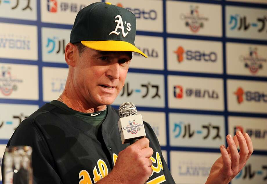 US Major League Baseball team Oakland Athletics Manager Bob Melvin speaks during his team's press conference in Tokyo on March 24, 2012. Oakland Athletics and Seattle Mariners are here to participate in the 2012 MLB Opening Series in Japan, March 28 and 29, 2012.    AFP PHOTO / TOSHIFUMI KITAMURA (Photo credit should read TOSHIFUMI KITAMURA/AFP/Getty Images) Photo: Toshifumi Kitamura, AFP/Getty Images