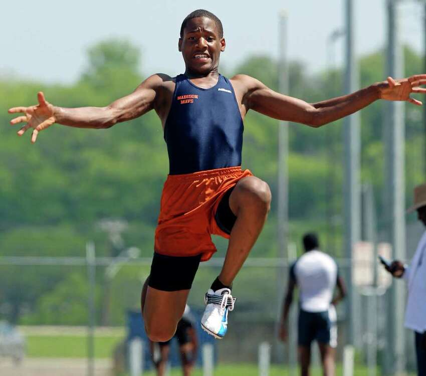 Madison's James Liburd works in the triple jump to get a 43'9