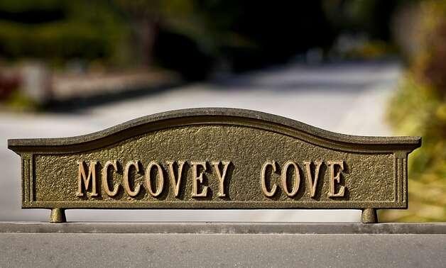 Baseball Hall of Fame Giant Willie McCovey's  mailbox marker is seen outside his Woodside, Calif., home on Wednesday, Feb. 1, 2012. Photo: Russell Yip, The Chronicle
