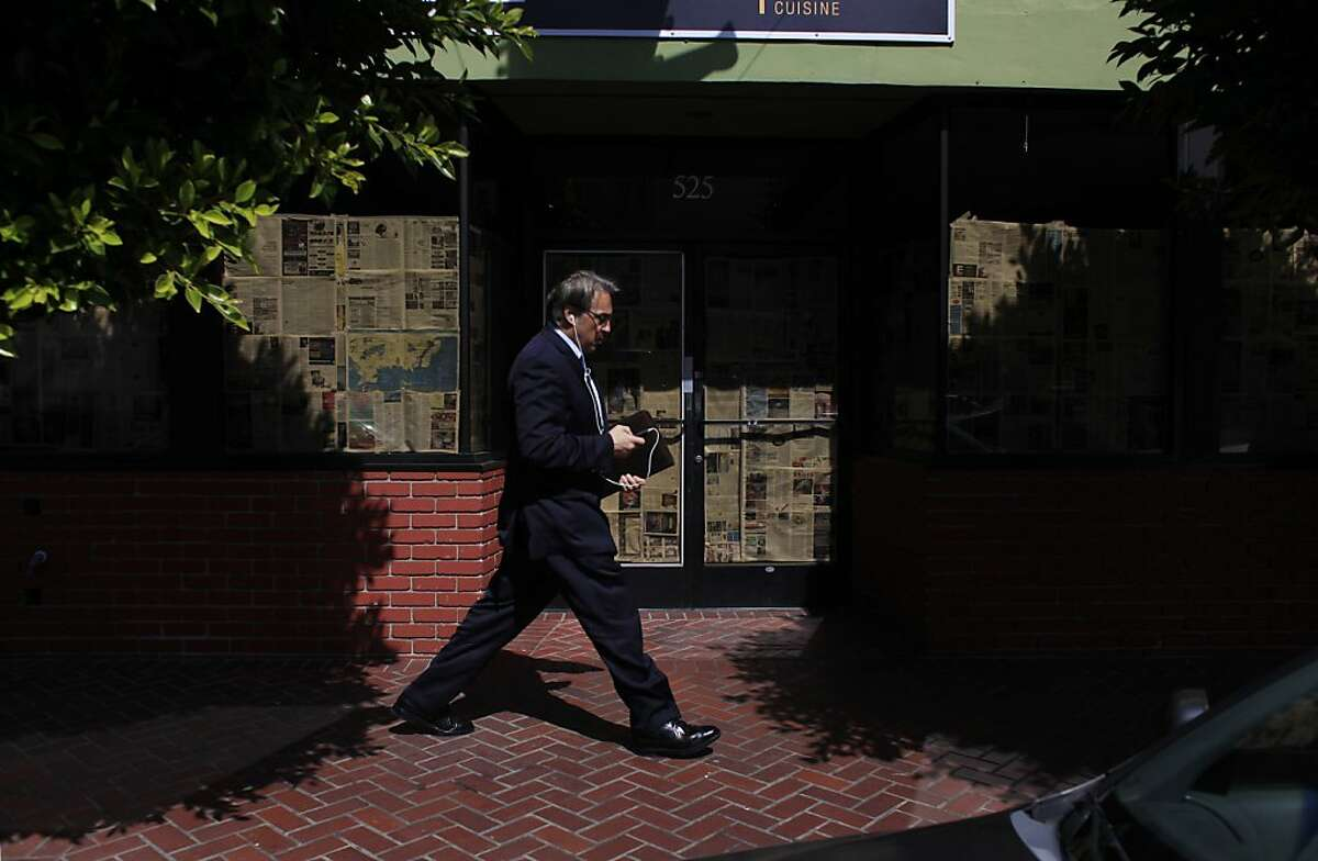 Suspended sheriff Ross Mirkarimi walks on 7th Street after leaving the Hall of Justice after his orientation at the Adult Probation Department on Thursday, March 22, 2012 in San Francisco, Calif.