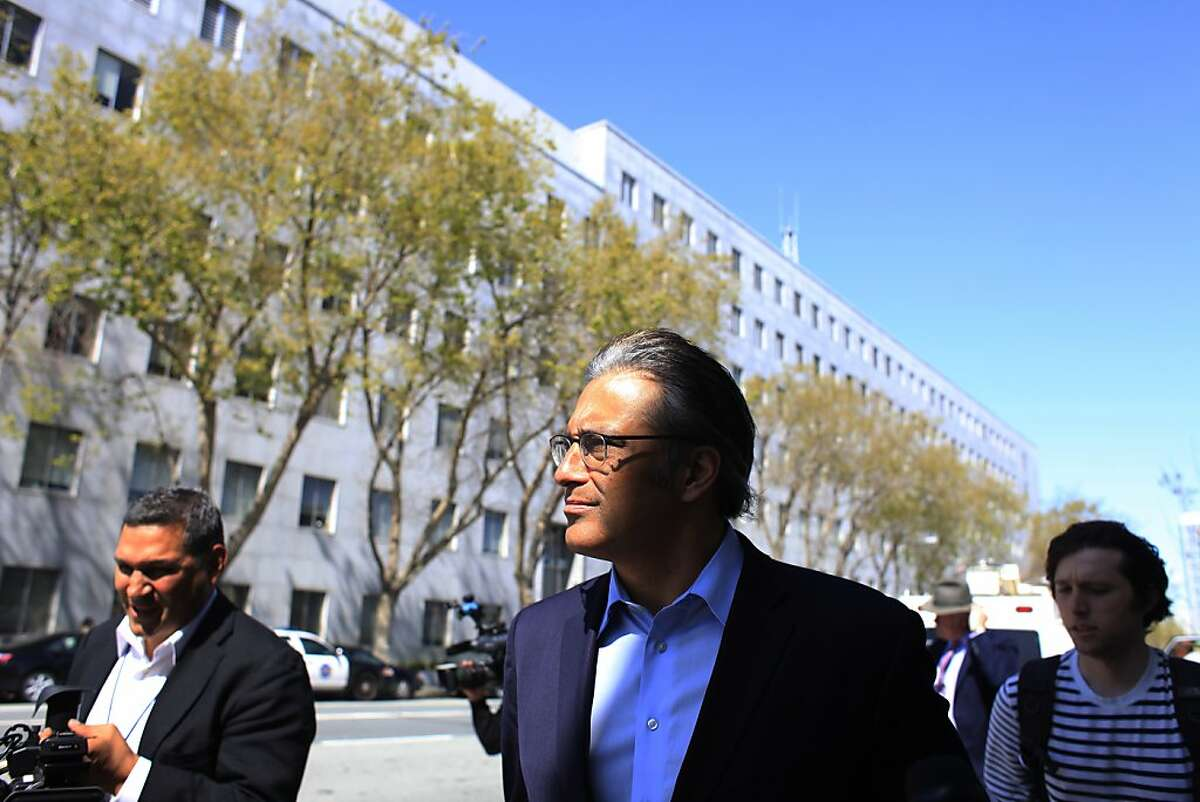 Suspended sheriff Ross Mirkarimi leaves the Hall of Justice after his orientation at the Adult Probation Department on Thursday, March 22, 2012 in San Francisco, Calif.