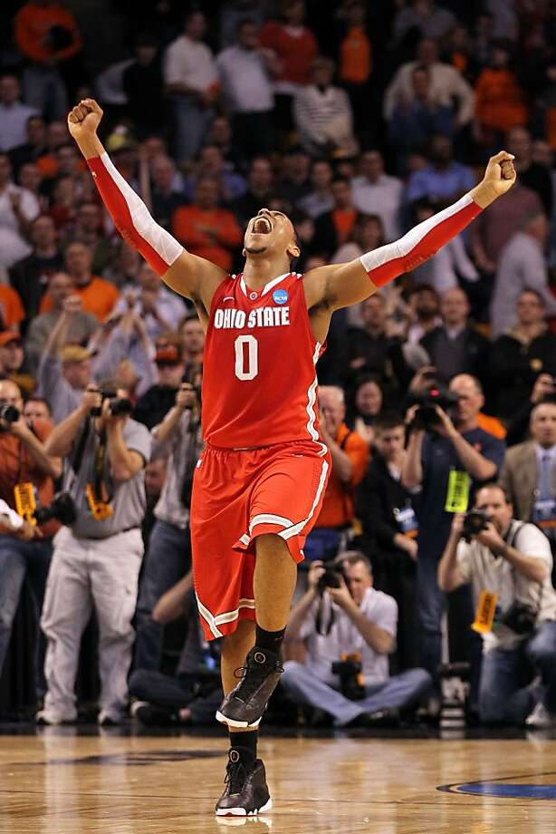 BOSTON, MA - MARCH 24:  Jared Sullinger #0 of the Ohio State Buckeyes celebrates after defeating the Syracuse Orange during the 2012 NCAA Men's Basketball East Regional Final at TD Garden on March 24, 2012 in Boston, Massachusetts.  (Photo by Jim Rogash/Getty Images) Photo: Jim Rogash, Getty Images