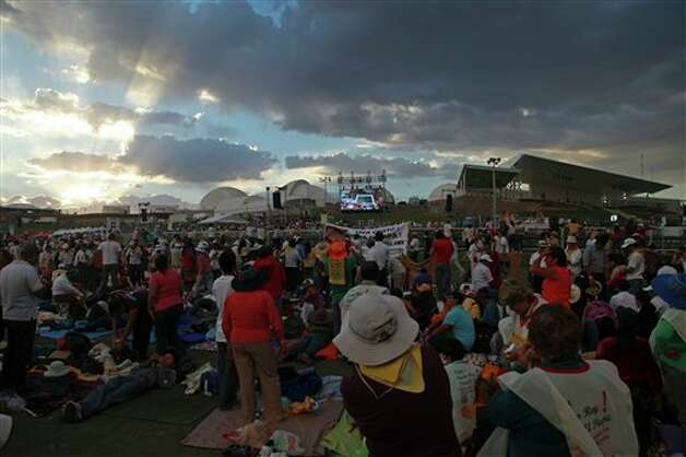 Pilgrims arrive the site where Pope Benedict XVI will give Sunday Mass at the Bicentennial Park near Silao, Mexico, Saturday March 24, 2012.  Photo: Associated Press