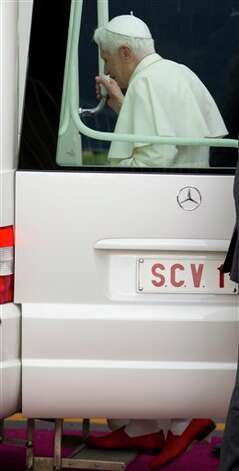 Pope Benedict XVI gets into his popemobile after he was given the keys to the city in Guanajuato, Mexico, Saturday March 24, 2012. The weeklong trip to Mexico and Cuba is Benedict's first to both countries, and only his second to Latin America. He visited Brazil in 2007.  Photo: Associated Press