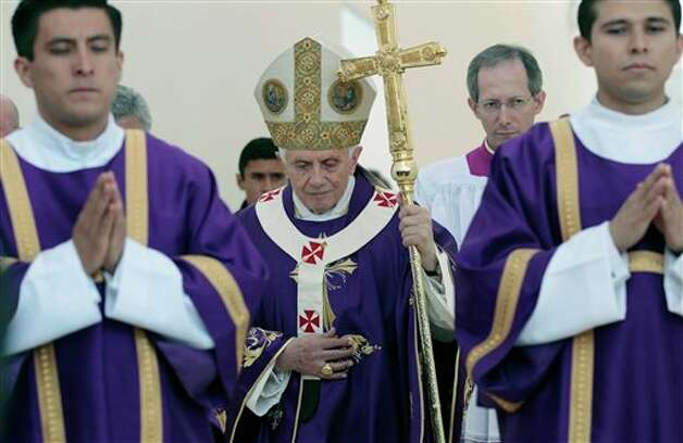 Pope Benedict XVI walks with his pastoral staff prior to the start of Sunday Mass at the Parque del Bicentenario, in Silao, Mexico, Sunday, March 25, 2012.  Photo: Gregorio Borgia, Associated Press / AP