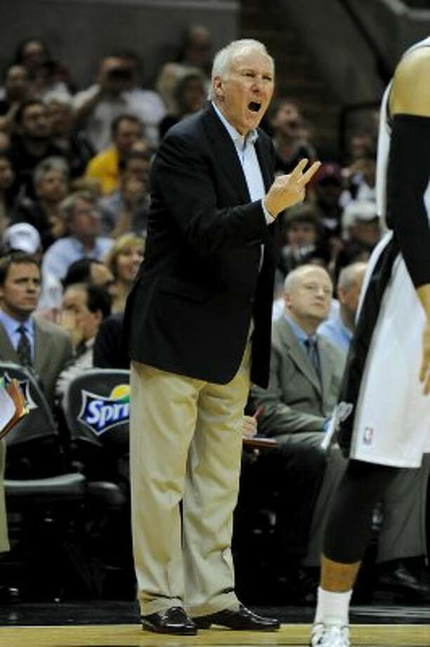 San Antonio Spurs head coach Gregg Popovich yells to his players during a NBA basketball game between the Philadelphia 76ers and the San Antonio Spurs at the AT&T Center in San Antonio, Texas on March 25, 2012. John Albright / Special to the Express-News. (JOHN ALBRIGHT / San Antonio Express-News)