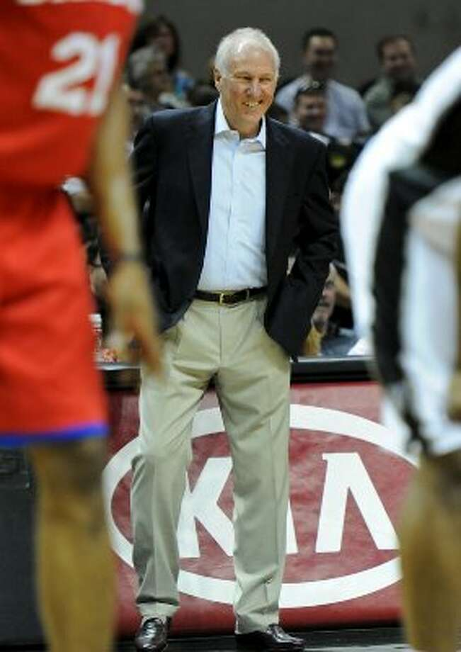 San Antonio Spurs head coach Gregg Popovich during a NBA basketball game between the Philadelphia 76ers and the San Antonio Spurs at the AT&T Center in San Antonio, Texas on March 25, 2012. John Albright / Special to the Express-News. (JOHN ALBRIGHT / San Antonio Express-News)