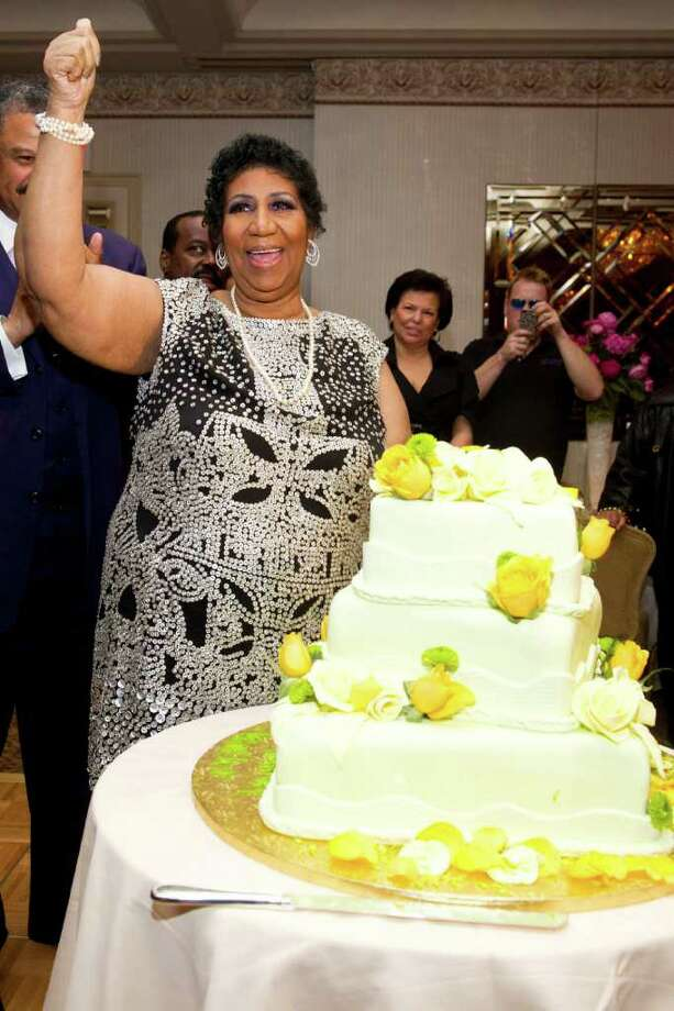 Aretha Franklin attends her seventieth birthday party in New York, Saturday, March 24, 2012. (AP Photo/Charles Sykes) Photo: Charles Sykes / FR170266 AP