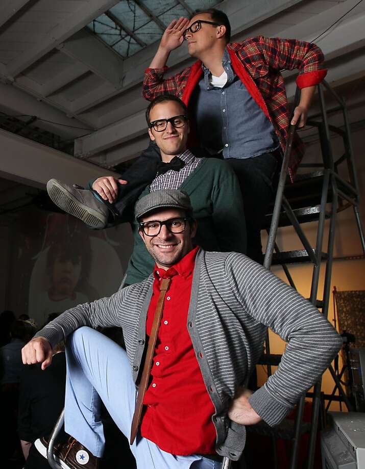 From top, David Fine, Beau Lewis, and Peter Furia of Seedwell Producers, which produced three movies that will soon air on YouTube's new American Hipster channel. Photo taken on Thursday, March 22, 2012. Photo: Lance Iversen, The Chronicle