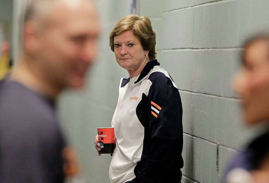 Tennessee coach Pat Summitt waits for staff members to join her outside her team's locker room prior to practice in Des Moines, Iowa, Sunday, March 25, 2012. Tennessee plays against Baylor on Monday in the NCAA women's tournament regional final college basketball game. (AP Photo/Nati Harnik) Photo: Nati Harnik