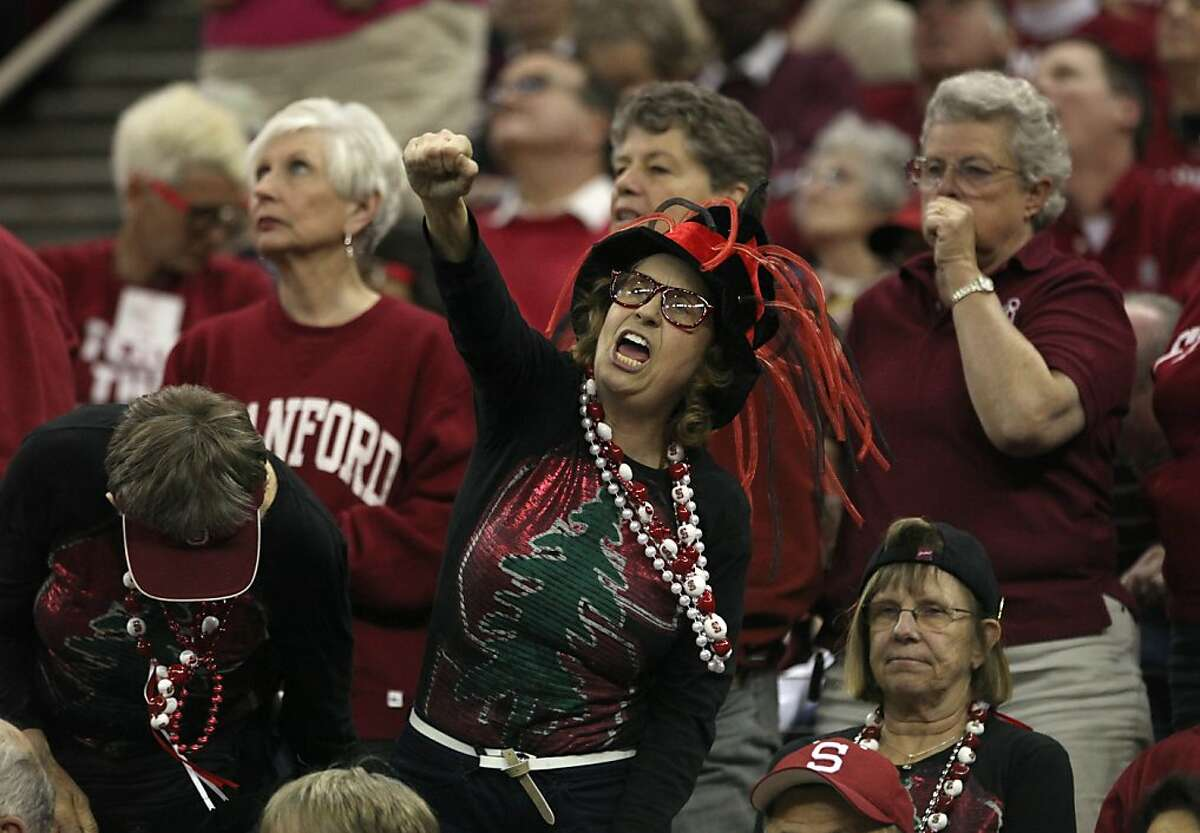 Stanford fans celebrate their teams 76-60 win over South Carolina in an NCAA women's tournament regional semifinal college basketball game, Saturday, March 24, 2012, in Fresno, Calif. Stanford plays Duke Monday in the regional finals.(AP Photo/Rich Pedroncelli)
