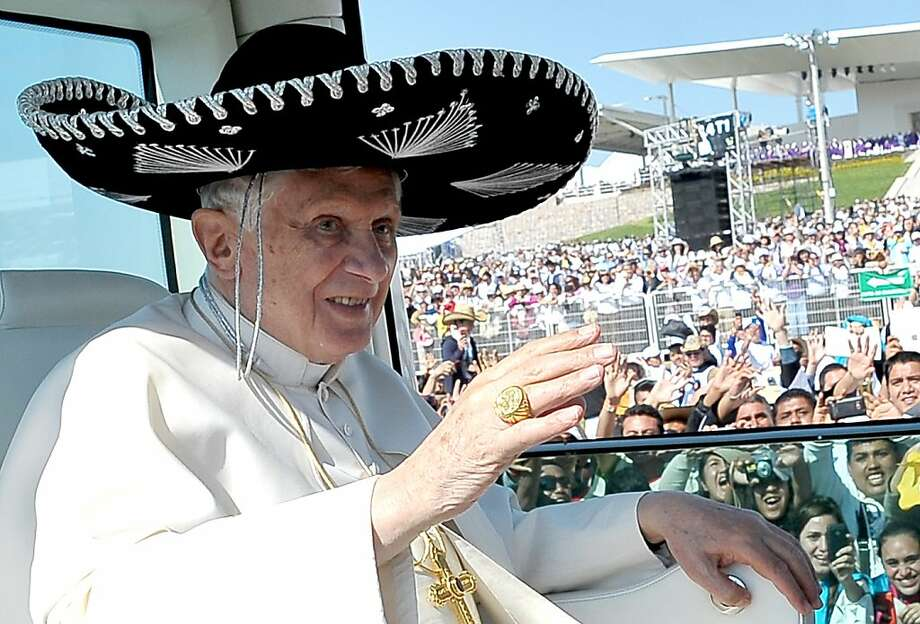 """Alternative crop - This handout picture released by the Vatican Press Office shows Pope Benedict XVI (R) wears a typical Mexican hat as he arrives to lead the holy mass celebration at the Parque del Bicentenario in Silao on March 25, 2012.  Pope Benedict XVI sought to boost the Catholic faith in the face of violence and other challenges on his first visit to Mexico this weekend, receiving eager support from vast crowds of Mexicans.   AFP PHOTO/ L'OSSERVATORE ROMANO --- RESTRICTED TO EDITORIAL USE – MANDATORY CREDIT """"AFP PHOTO/OSSERVATORE ROMANO""""   Alternative crop (Photo credit should read OSSERVATORE ROMANO/AFP/Getty Images) Photo: Osservatore Romano, AFP/Getty Images"""
