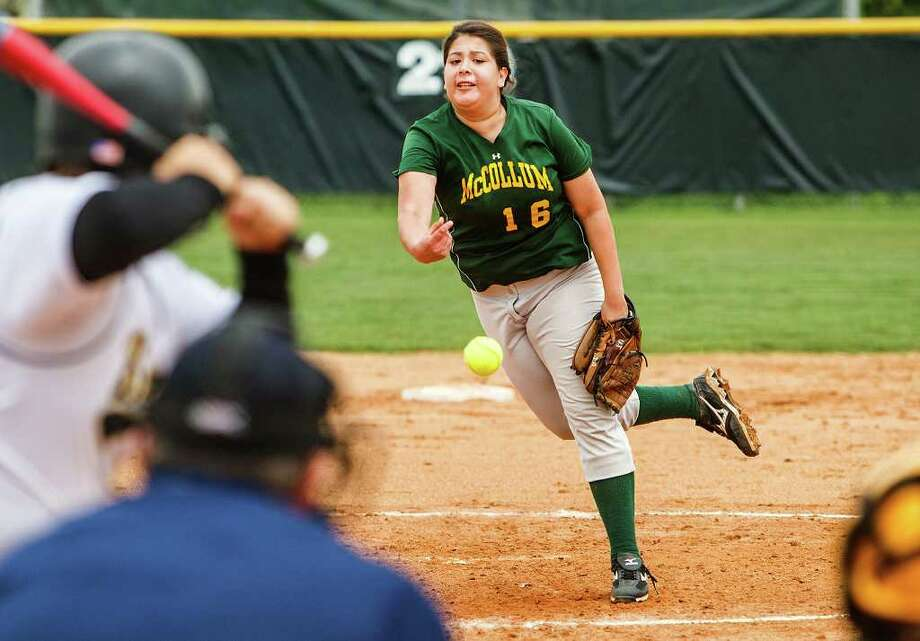 McCollum's Jackie Aguillen delivers a pitch to the plate during their game with Brennan at Northside #1 on March 24, 2012. McCollum won the game 20-3 in five innngs.  Photo by Marvin Pfeiffer / Prime Time Newspapers Photo: MARVIN PFEIFFER, Marvin Pfeiffer / Prime Time Newspapers / Prime Time Newspapers 2012