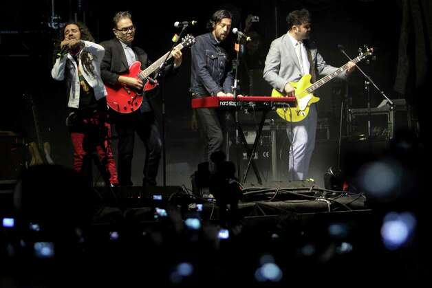 In this photo taken March 19, 2012, the Mexican rock band Cafe Tacvba perform during the Cumbre Tajin 2012 cultural festival Papantla, Mexico. Photo: F�lix Marquez, AP / AP
