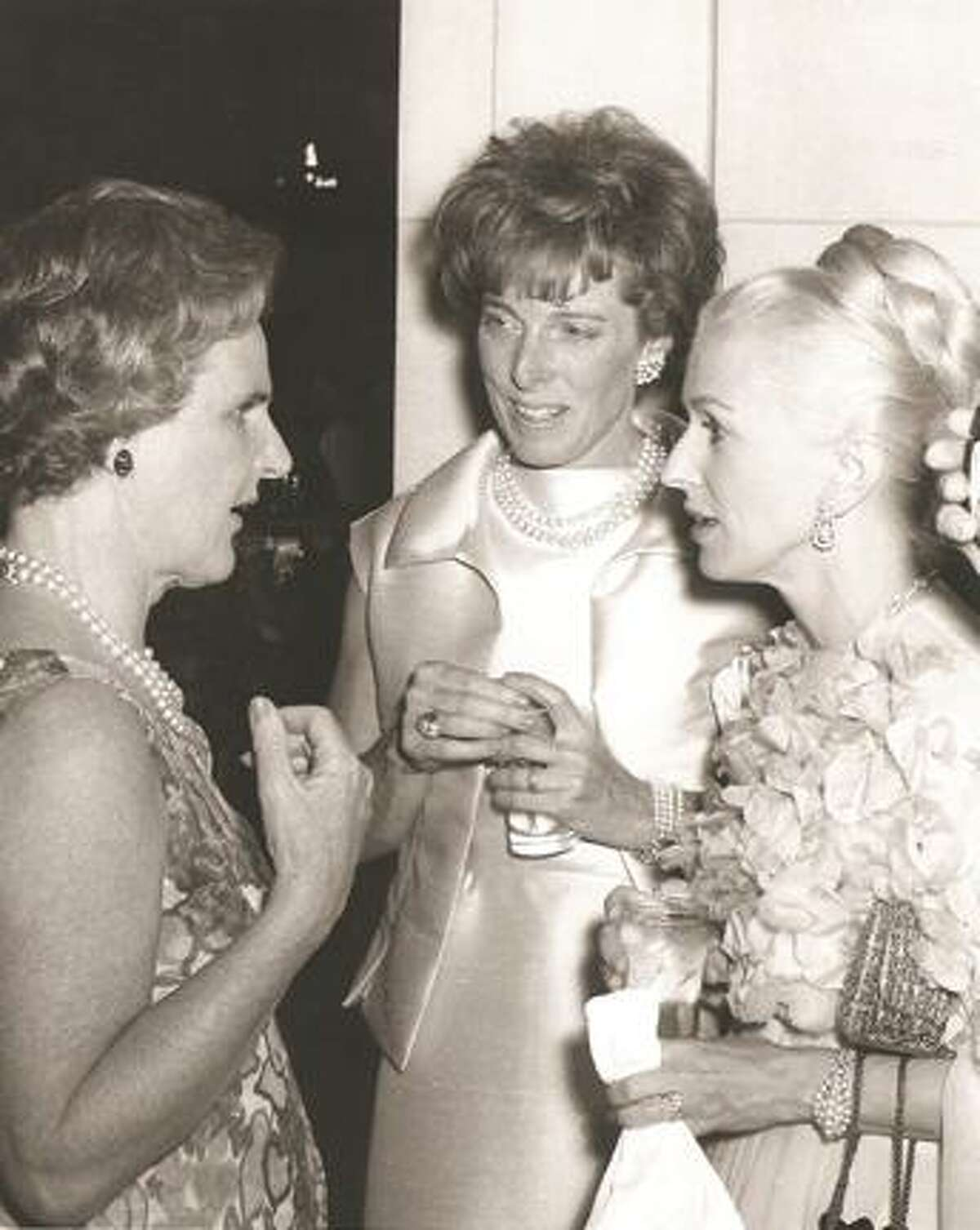 Marylou Whitney, right, visits with Kay Leach and Mrs. Ogden Phipps at Saratoga Performing Arts Center's opening night on July 8, 1966. (Provided photo)