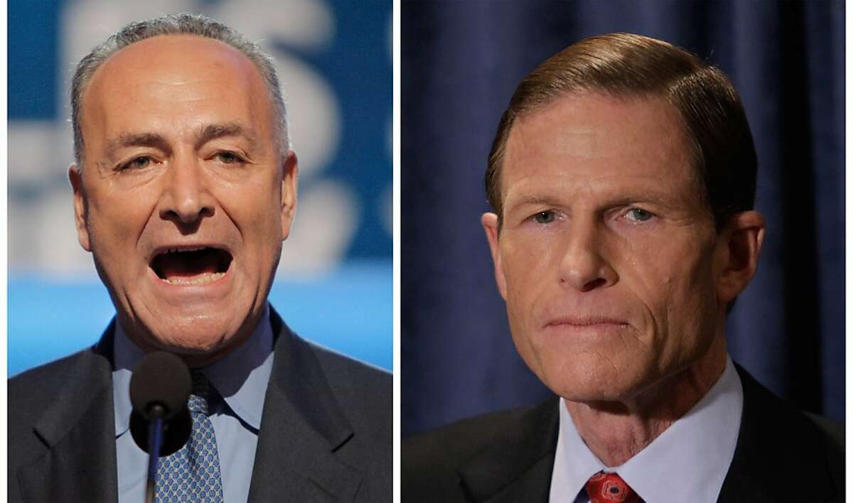 Troubled by reports of the practice of employers asking for Facebook passwords during job interviews, Democratic Sens. Chuck Schumer of New York, left, and Richard Blumenthal of Connecticut said they are calling on the Department of Justice and the U.S. Equal Employment Opportunity Commission to launch investigations. The senators are sending letters to the heads of the agencies their offices announced Sunday March 25, 2012. (AP Photo)