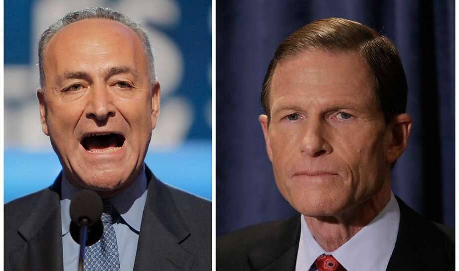 Troubled by reports of the practice of employers asking for Facebook passwords during job interviews, Democratic Sens. Chuck Schumer of New York, left, and Richard Blumenthal of Connecticut said they are calling on the Department of Justice and the U.S. Equal Employment Opportunity Commission to launch investigations. The senators are sending letters to the heads of the agencies their offices announced Sunday March 25, 2012. (AP Photo) Photo: Jae C. Hong Steven Savoia, Associated Press