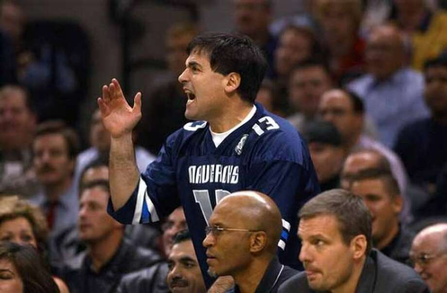 SPORTS DALLAS MAVERICKS VS SAN ANTONIO SPURS 12/11/02 Dallas Mavericks owner Mark Cuban yells at the referees during the second half of their game against he San Antonio Spurs at the SBC Center on Wednesday, Dec. 11, 2002. ( JERRY LARA STAFF ) (JERRY LARA / SAN ANTONIO EXPRESS-NEWS)
