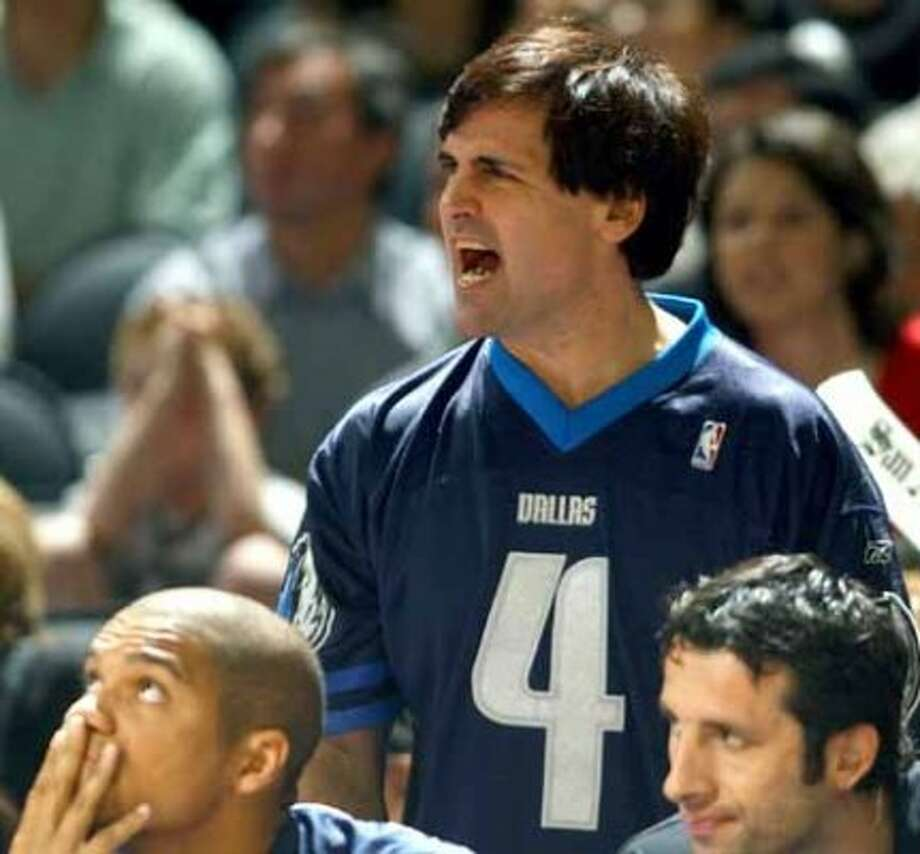 Mavericks' owner Mark Cuban reacts during game 1 of the Western Conference Finals with the Spurs at the the SBC Centerin San Antonio  Monday May 19, 2003. Edward A. Ornelas/Staff (EDWARD A. ORNELAS / SAN ANTONIO EXPRESS-NEWS)