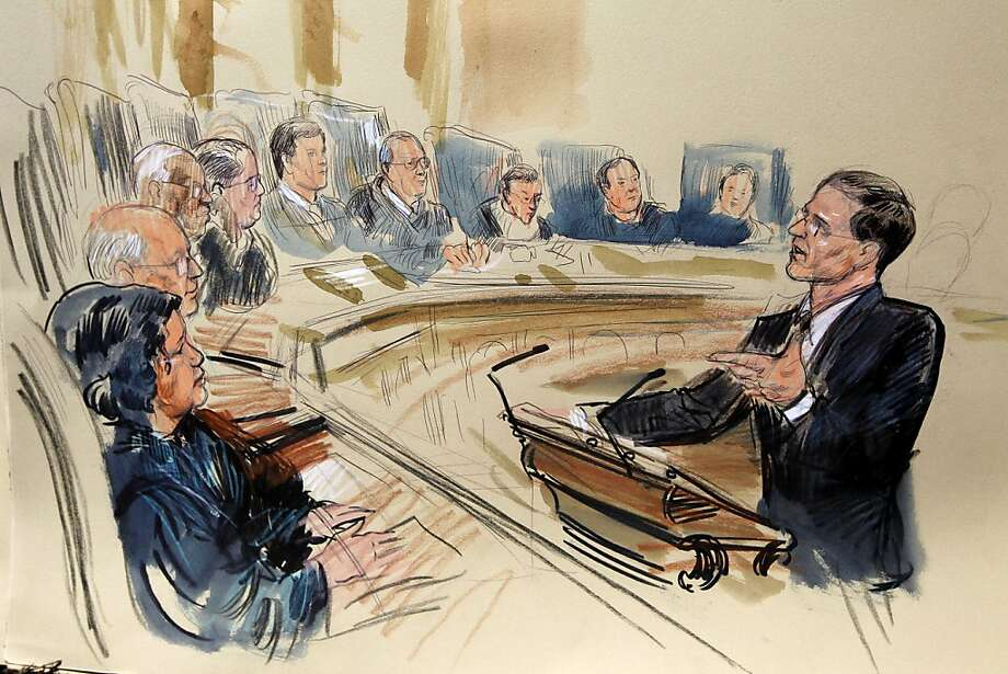 This artist rendering shows attorney Gregory G. Katsas speaking in front of the Supreme Court Justice in Washington, Monday, March 26, 2012, as the court began three days of arguments on the health care law signed by President Barack Obama in Washington. Justices seated, from left are, Sonia Sotomayor, Stephen Breyer, Clarence Thomas, Antonin Scalia, Chief Justice John Roberts and Anthony Kennedy, Ruth Bader Ginsburg, Samuel Alito and Elena Kagan. (AP Photo/Dana Verkouteren) Photo: Dana Verkouteren, Associated Press