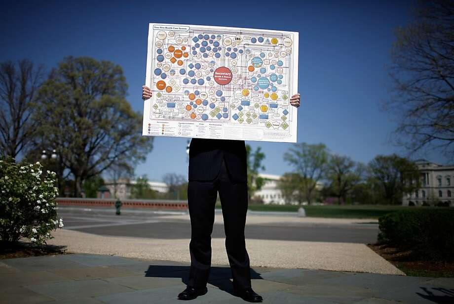 WASHINGTON, DC - MARCH 26:  House staff member Glynn McGehee holds a flow chart of the health care law with the Secretary of Health and Human Services in the center before the House Republican Policy Committee holds a news conference on the first day of the oral arguments in the Supreme Court on the constitutionality of the Patient Protection and Affordable Care Act March 26, 2012 in Washington, DC. The policy committee members were uniform in their criticism of the health care act and said they would continue to work for its repeal even if the Supreme Court found it constitutional.  (Photo by Chip Somodevilla/Getty Images)  *** BESTPIX *** Photo: Chip Somodevilla, Getty Images