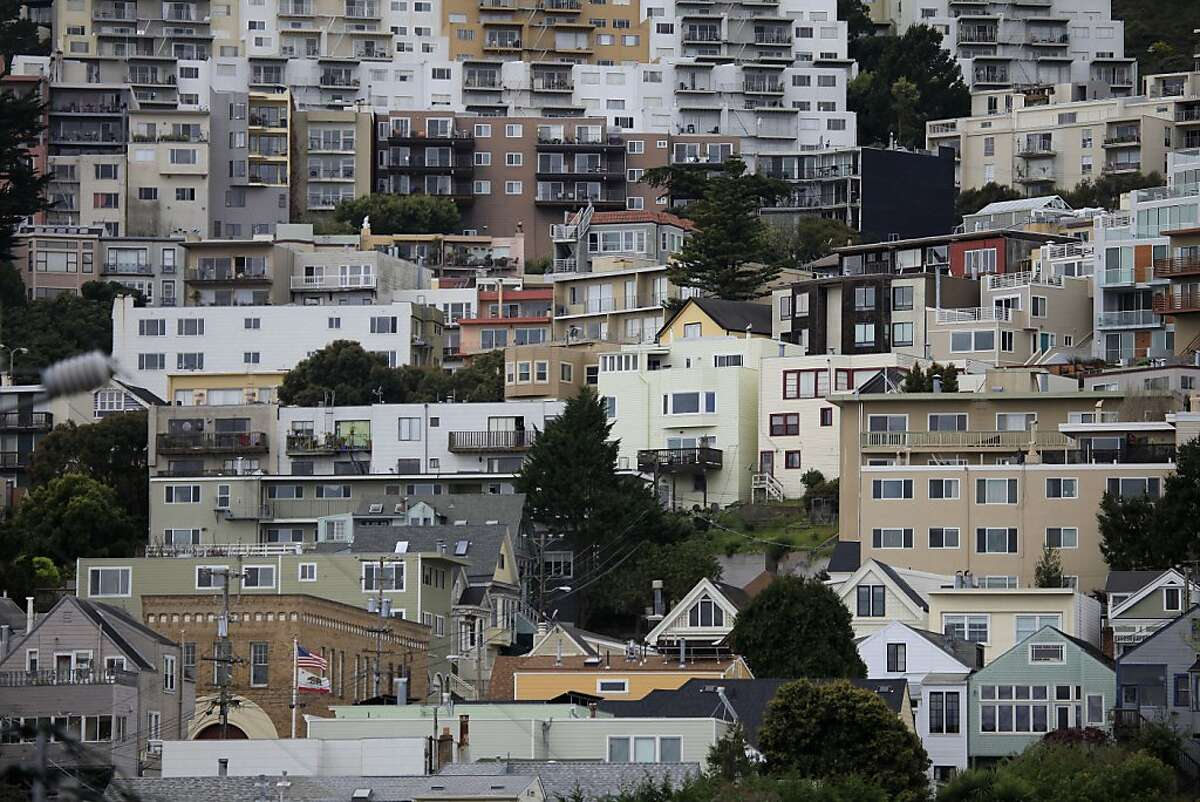 Homes in San Francisco sit close together on Monday, March 26, 2012 in San Francisco, Calif.