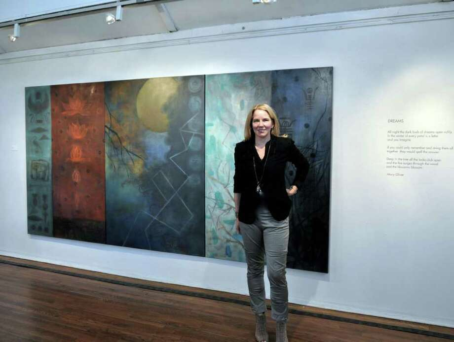 Artist Stephanie Joyce stands with her artwork at Silvermine. Photo: Contributed Photo
