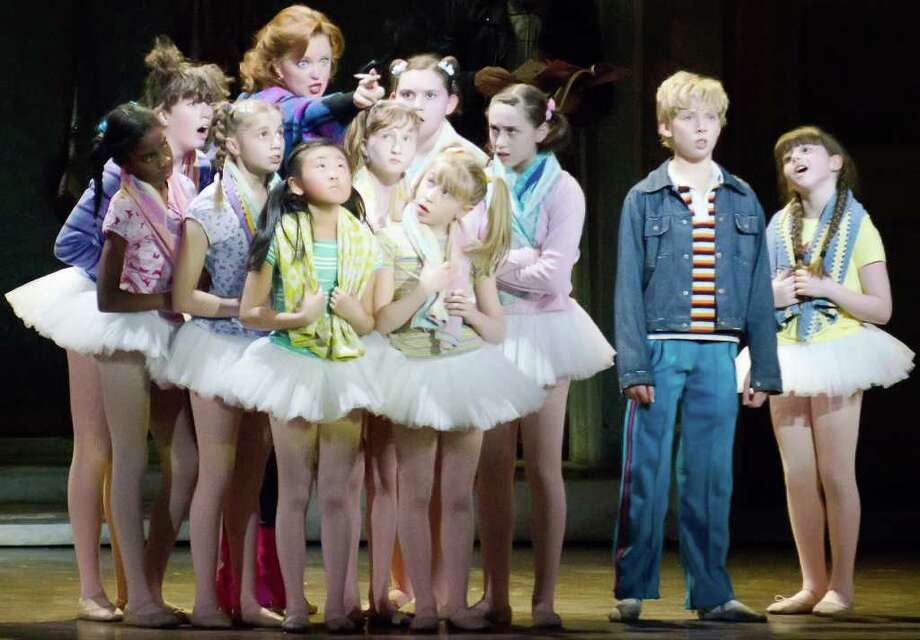 """Ty Forhan (Billy), Leah Hocking (Mrs. Wilkinson), Samantha Blaire Cutler (Debbie) and the cast of """"Billy Elliot the Musical."""" Photo: Kyle Froman, Courtesy Kyle Froman / © Kyle Froman Photography"""