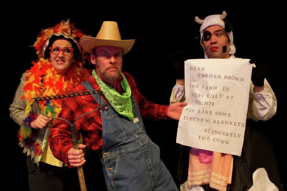 "Ariel Rosen (from left), Dylan Collins and Richard Solis star in Magik Theatre's ""Click, Clack, Moo: Cows That Type."" Courtesy Rasmi Hunt/Artgives.org"