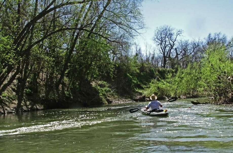 The Saspamco Paddling Trail offers an easy and relaxing trip for kayakers and canoeists with the only rapids being around scattered logjams. Photo: JOHN GOODSPEED/FOR TO THE EXPRESS-NEWS