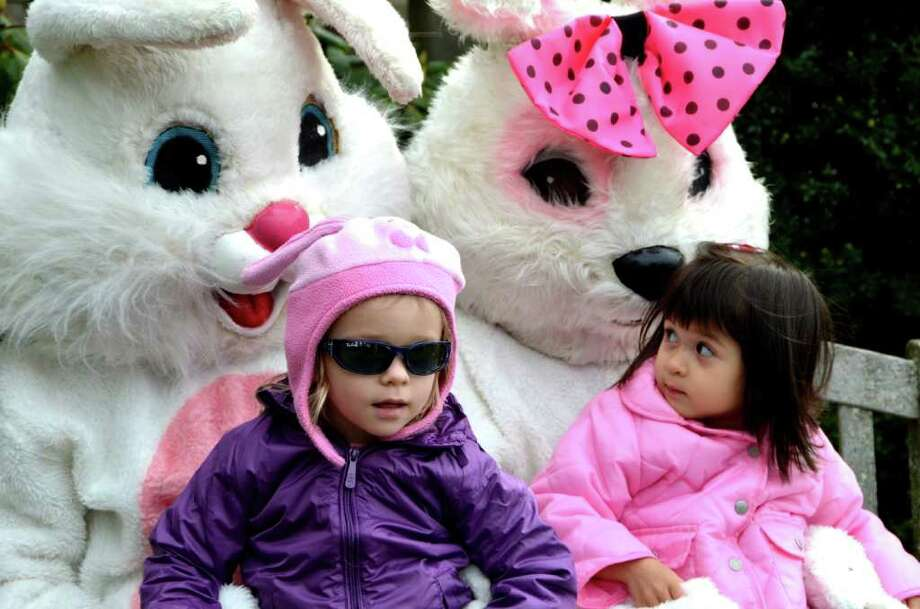 Aubry and Chloe meet Mr. and Mrs. Easter Bunny at the 39th Annual Easter Egg Hunt at Waveny Park, Saturday, March 24, 2012. Photo: Jeanna Petersen Shepard