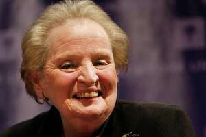 Former U.S. Secretary of State Madeline Albright smiles during a panel discussion at New York University in New York, Wednesday, March 25, 2009. Albright was the 2007 Blowout speaker. (AP Photo/Seth Wenig)