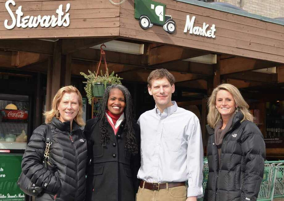 NCHS Scholarship drive co-chairmen Liz Mallozzi, Annette Terry and Lisa Isherwood with Alex Stewart, general manager of Walter Stewart's. Photo: Contributed Photo