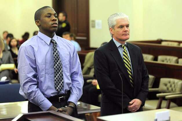 Jermayne Timmons, a convicted teenage murderer, is sentenced in Albany Court,  Friday morning, March 6,2009, in Albany,New York. at right is attorney  peter Lynch(Steve Jacobs / Times Union) 1 of 8 photos Photo: STEVE JACOBS / 00002742A