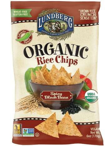 Lundberg Organic Rice Chips, new flavors include Spicy Black Bean and Cracked Black Pepper. Photo: Lundberg Family Farms