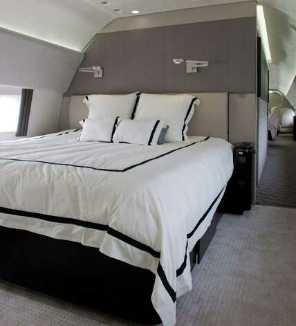 the master bedroom of a new boeing business jet just unveiled at the