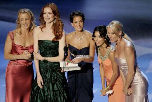"Felicity Huffman, Marcia Cross, Teri Hatcher, Eva Longoria, and Nicollette Sheridan, from the television series ""Desperate Housewives"". (AP)"