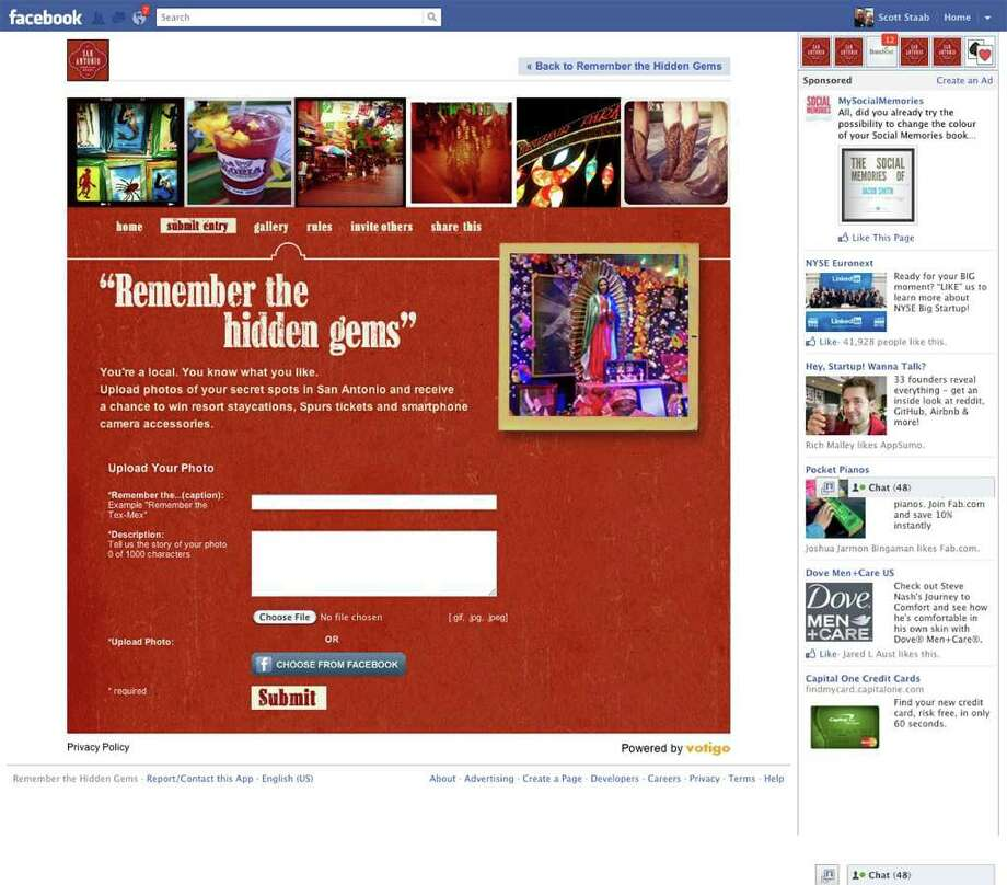 """Remember the Hidden Gems"" ad campaign by the San Antonio Convention & Visitors Bureau. Mock-up of what the CVB's Facebook page should look like as of Wednesday, March 28. Photo: COURTESY IMAGE"